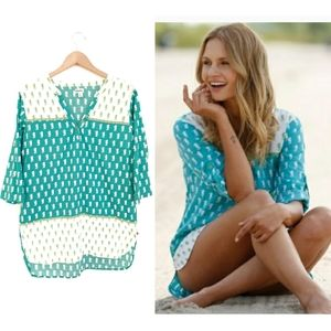 Hatley Teal White Green Seahorse Tunic Top Coverup